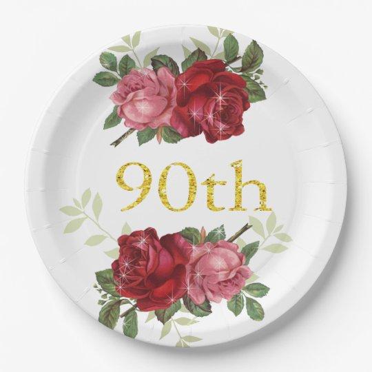 Vintage Roses Paper Plate | Zazzle.com