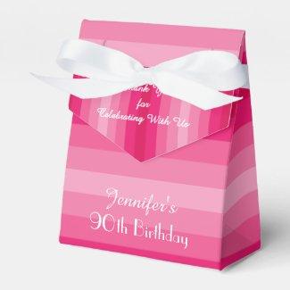 90th Birthday Favor Box, Pink Stripes