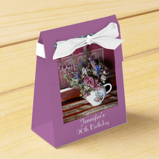 90th Birthday Favor Box Vintage Teapot Party Box Zazzle