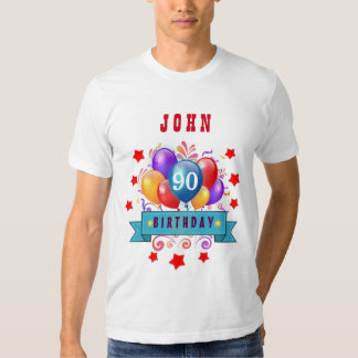 90th Birthday Festive Colorful Balloons C01I T Shirt