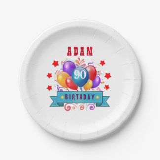 90th Birthday Festive Colorful Balloons C01IZ Paper Plate
