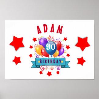 90th Birthday Festive Colorful Balloons C01IZ Poster