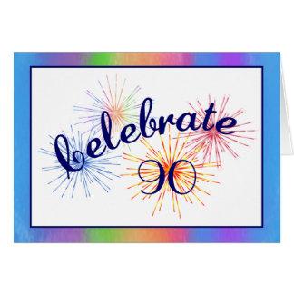 90th Birthday Fireworks Greeting Card