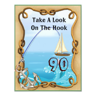 90th Birthday Fishing Invitations for MEN