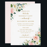 "90th Birthday Floral Blush Gold Invitation<br><div class=""desc"">More modern floral Birthday Invitations in the Little Bayleigh Store!</div>"