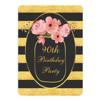 90th Birthday Floral Mason Jar Gold Stripes Card