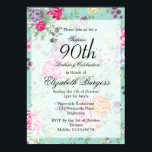 "90th Birthday  Floral Rose Personal Birthday Invitation<br><div class=""desc"">A 90th Birthday Floral Personal Monogram Birthday Invitation. The age can be changed for any age .not just 90. A pretty floral roses flower background predominantly in blue. The information is easily changed to your own custom information with the word surprise able to be removed , the age changed and...</div>"