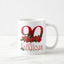 90th birthday flower coffee mug