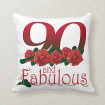 90th birthday flower throw pillow