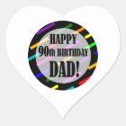 90th Birthday For Dad Heart Sticker