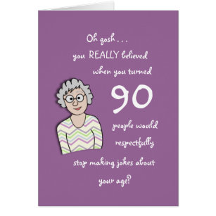 Funny 90th birthday cards greeting photo cards zazzle 90th birthday for her funny card bookmarktalkfo Images