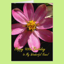 90th Birthday for Nana, Pink Flower Card