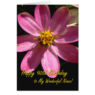 90th Birthday for Nana, Pink Flower Greeting Card