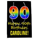"[ Thumbnail: 90th Birthday: Fun, Bold, Colorful, Rainbow ""90"" Gift Bag ]"