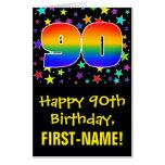 [ Thumbnail: 90th Birthday: Fun, Colorful Stars + Rainbow # 90 Card ]
