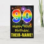 [ Thumbnail: 90th Birthday: Fun Fireworks Pattern + Rainbow 90 Card ]