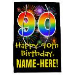 [ Thumbnail: 90th Birthday: Fun Fireworks Pattern + Rainbow 90 Gift Bag ]