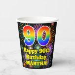 [ Thumbnail: 90th Birthday: Fun Fireworks Pattern + Rainbow 90 ]