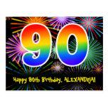 [ Thumbnail: 90th Birthday – Fun Fireworks Pattern + Rainbow 90 Postcard ]