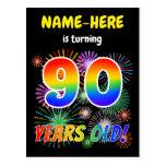 "[ Thumbnail: 90th Birthday - Fun Fireworks, Rainbow Look ""90"" Postcard ]"