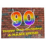 [ Thumbnail: 90th Birthday: Fun, Graffiti-Inspired Rainbow # 90 Gift Bag ]