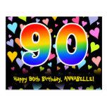 [ Thumbnail: 90th Birthday: Fun Hearts Pattern, Rainbow 90 Postcard ]