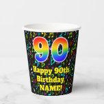 [ Thumbnail: 90th Birthday: Fun Music Notes Pattern, Rainbow 90 ]