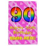 [ Thumbnail: 90th Birthday: Fun Pink Hearts Stripes; Rainbow 90 Gift Bag ]