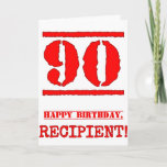 [ Thumbnail: 90th Birthday: Fun, Red Rubber Stamp Inspired Look Card ]