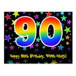 [ Thumbnail: 90th Birthday: Fun Stars Pattern, Rainbow 90, Name Postcard ]
