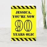 [ Thumbnail: 90th Birthday: Fun Stencil Style Text, Custom Name Card ]
