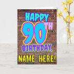 [ Thumbnail: 90th Birthday - Fun, Urban Graffiti Inspired Look Card ]