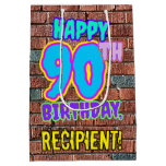 [ Thumbnail: 90th Birthday: Fun, Urban Graffiti Inspired Look Gift Bag ]