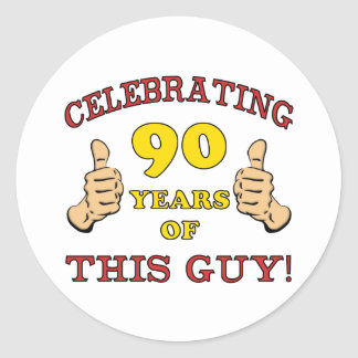 90th Birthday Gift For Him Classic Round Sticker