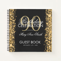 90th Birthday Guestbook Party Sparkles Gold Notebook