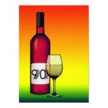 "90th birthday : halftone wine bottle & glass 5"" x 7"" invitation card"