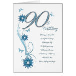 90th birthday in teal with flowers and butterfly greeting cards
