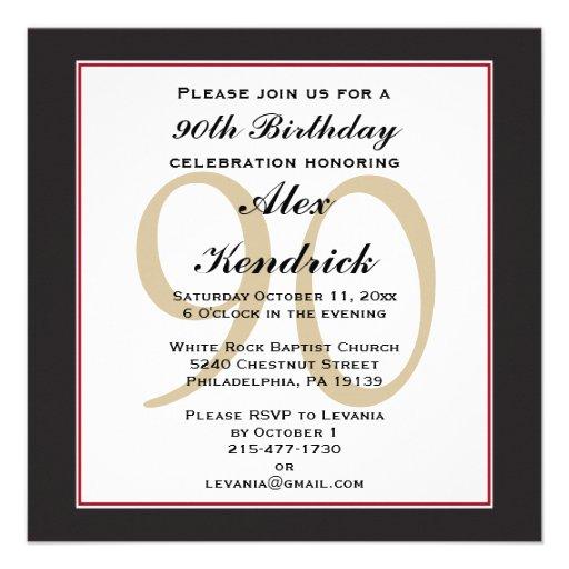 Personalized black 90th birthday invitations custominvitations4u 90th birthday invitation filmwisefo