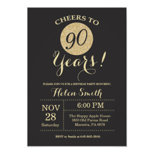 90th Birthday Invitation Black And Gold Glitter