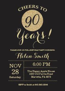 90th Birthday Invitation Black And Gold Glitter