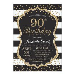 90th Birthday Invitation. Black and Gold Glitter Card
