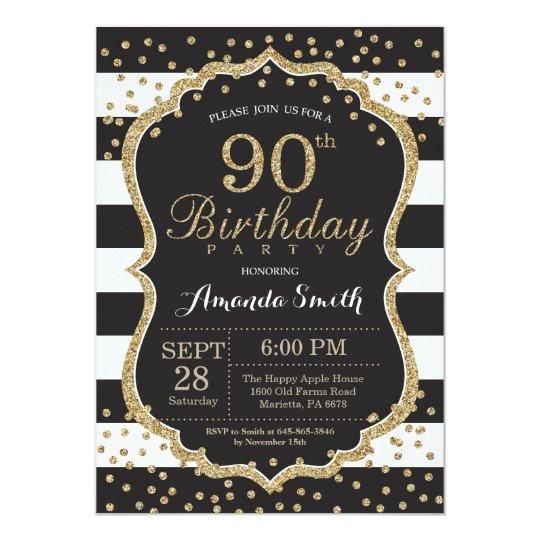 90th birthday invitation black and gold glitter invitation zazzle 90th birthday invitation black and gold glitter invitation filmwisefo