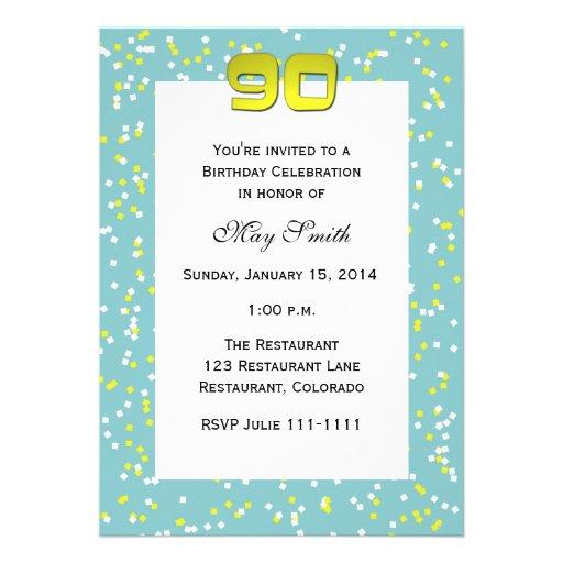 90th Birthday Invitation -- Confetti