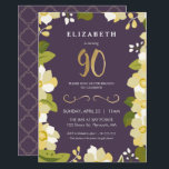 """90th Birthday Invitation, Customize Floral w/ Gold Invitation<br><div class=""""desc"""">This elegant and classy ninetieth birthday invitation features an illustrated floral border and the number """"90"""" in gold. The background is a purple color, but can be customized to any color you choose. The back of the invite includes a gold quatrefoil pattern with a matching purple background that can also...</div>"""