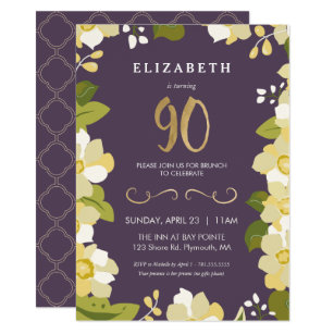 Elegant 90th Birthday Invitations Zazzle