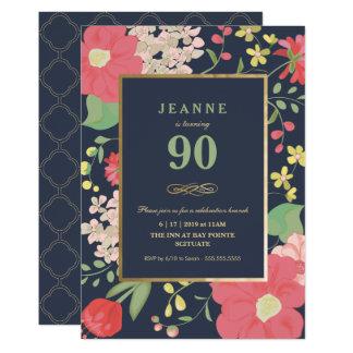 90th Birthday Invitation - Gold, Elegant Floral