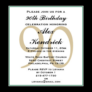 Border invitations zazzle 90th birthday invitation green border filmwisefo