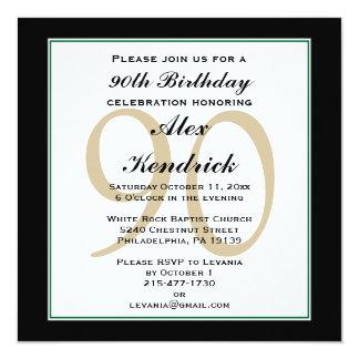 90th Birthday Invitation - Green Border