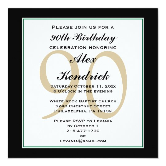 90th birthday invitation green border zazzle 90th birthday invitation green border filmwisefo
