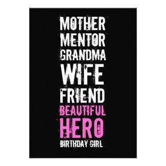 90th Birthday Invitation - Mom Beautiful Hero